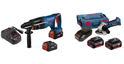 Image of Bosch Cordless Grinder and Cordless Rotary Hammer